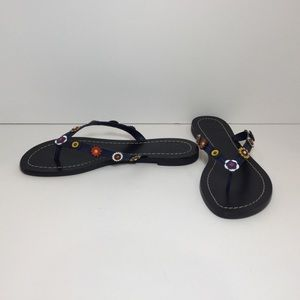 Tory Burch Flower-Detailed Leather Flip Flops NWOT